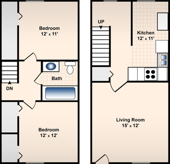 2 Bed / 1 Bath / 950 sq ft / Deposit: $300 / Rent: $650